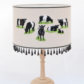 Belted Galloway embroidered lampshade (medium)