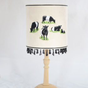 Belted Galloway embroidered lampshade (small)