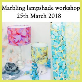 Silk scarf marbling / Lampshade making workshop – 25th March 2018